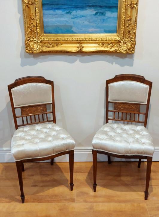 Antikes paar tief geknöpfte Santos Stühle aus Palisander