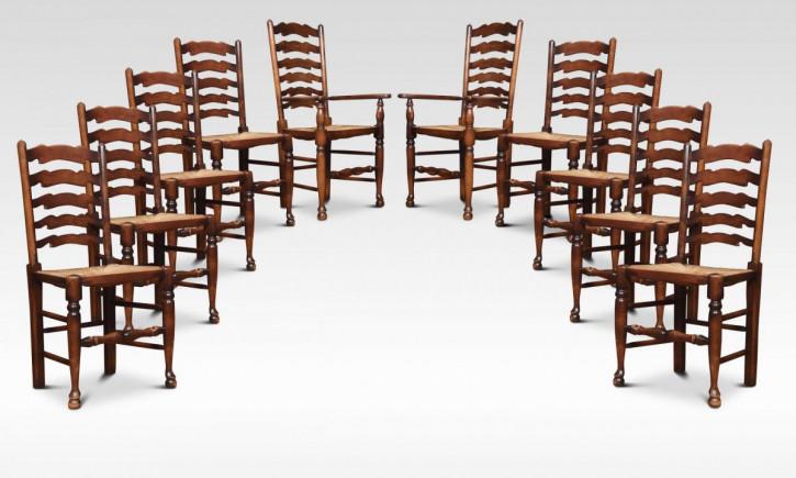Antiker Satz von zehn Eichenholz Esszimmerstühlen