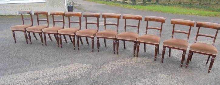 Antikes Set aus zehn Mahagoni Esszimmerstühle um 1850