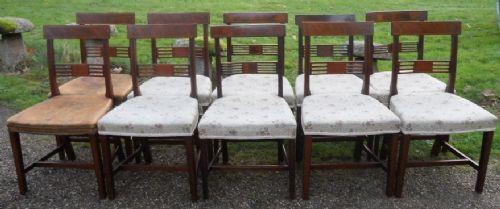 Antikes Set mit zehn Mahagoni-Esszimmerstühlen