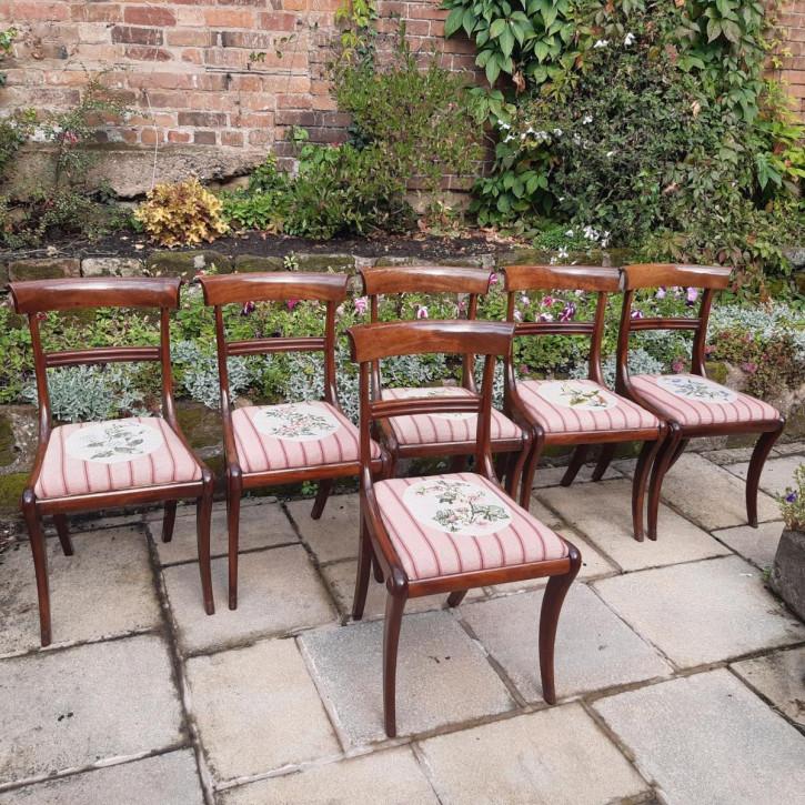 Antiker Satz von sechs Mahagoni-Stühlen