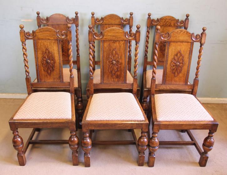 Antikes Set aus sechs Eichen-Esszimmerstühlen