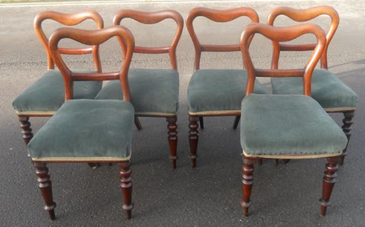 Antikes Set mit sechs Mahagoni-Esszimmerstühlen