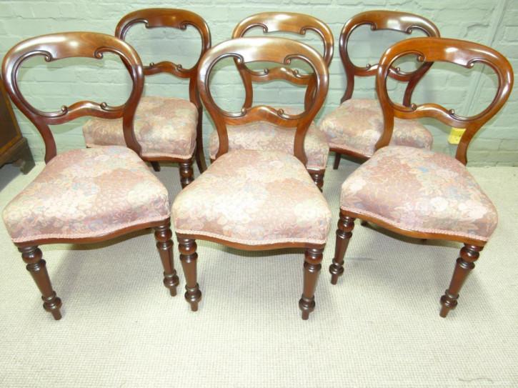 Antikes Set mit sechs Mahagoni-Stühlen von ca 1860