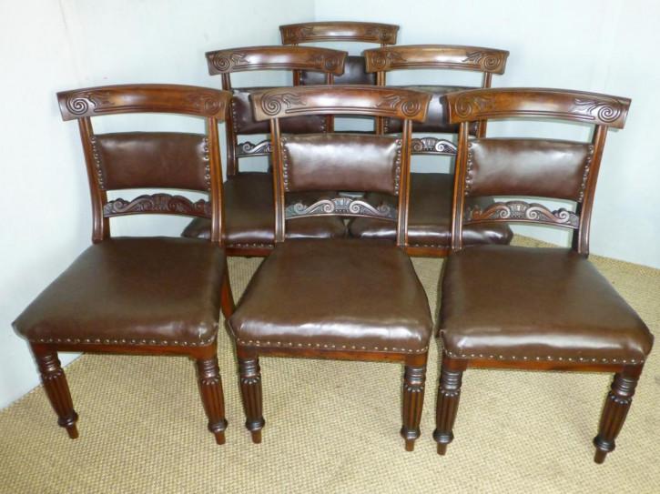 Antikes Set mit sechs gepolsterten Mahagoni Esszimmerstühle von Gilllows
