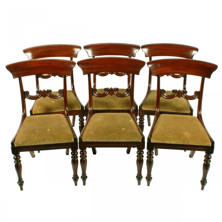 Antikes Set mit sechs Mahagoni-Stühlen