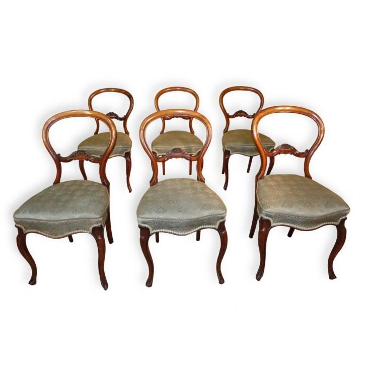 Antikes Set mit sechs Esszimmerstühlen mit Ballonrücken von Charles Roodhouse