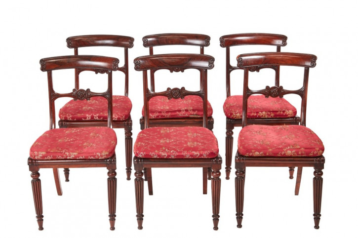 Antikes Qualitätsset von sechs Palisander Esszimmerstühlen