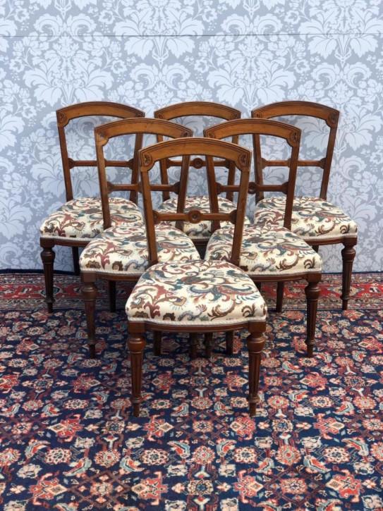 Antikes Set aus 6 originalen Stühlen mit Walnussrahmen