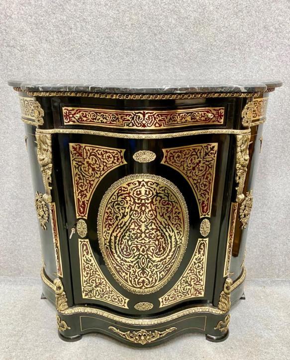 Antiker Beistellschrank im Louis-XVI.-Stil mit Marmorplatte 1920