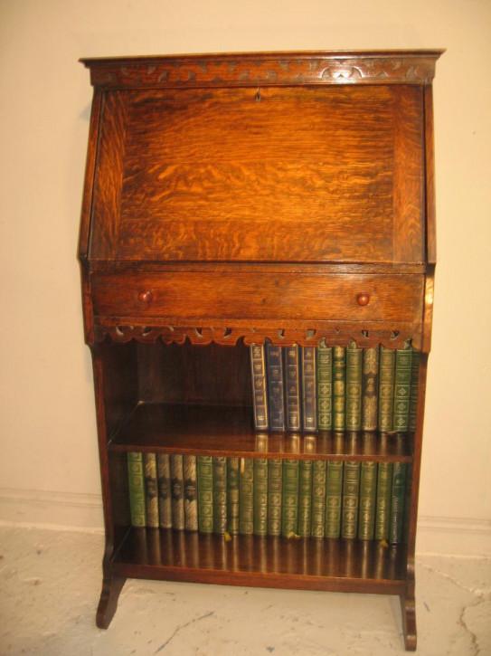 Traumhaftes Antikes Bureau Bookcase Massivholz Eiche Sekretär