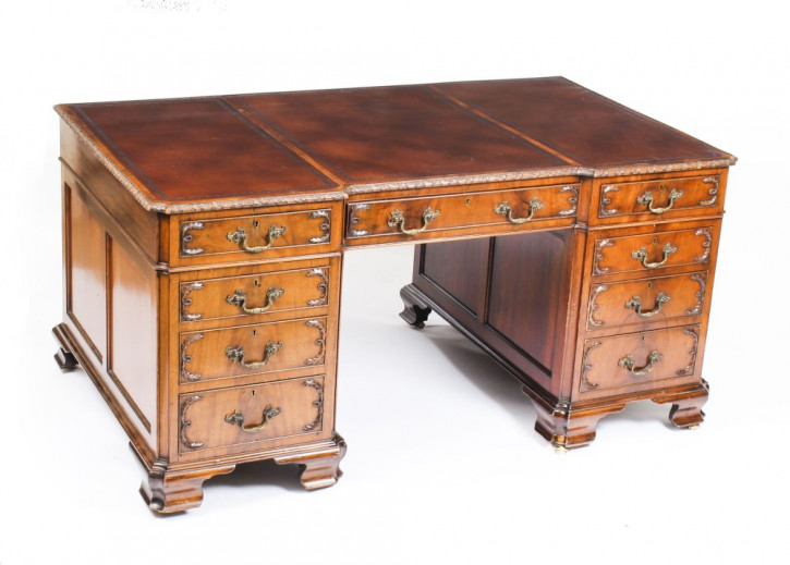 Antiker Partners Desk im George III Revival Stil, Mahagoni, ca. 1870
