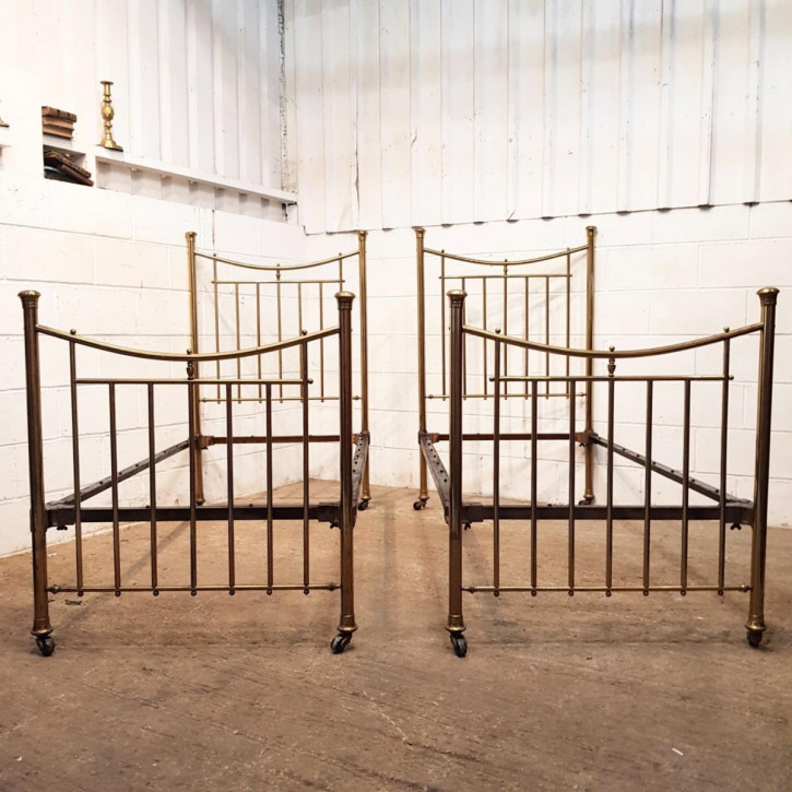 Antikes Betten-Paar aus Messing 1880