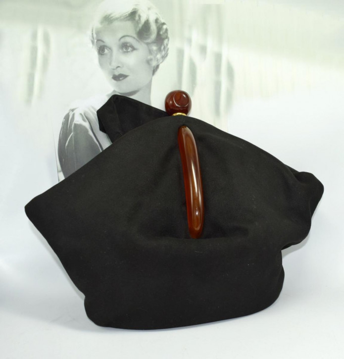 Art Deco Wildleder-Phenol-Bakelit-Tasche, um 1930