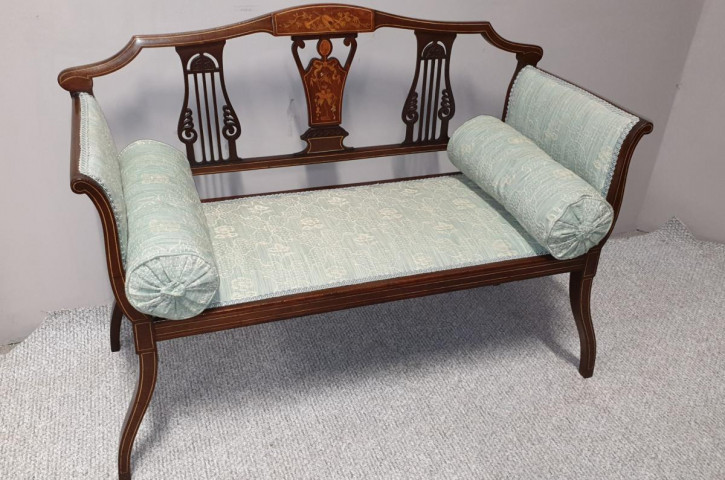 Antikes Zweisitzer Sofa, Mahagoni, ca. 1900