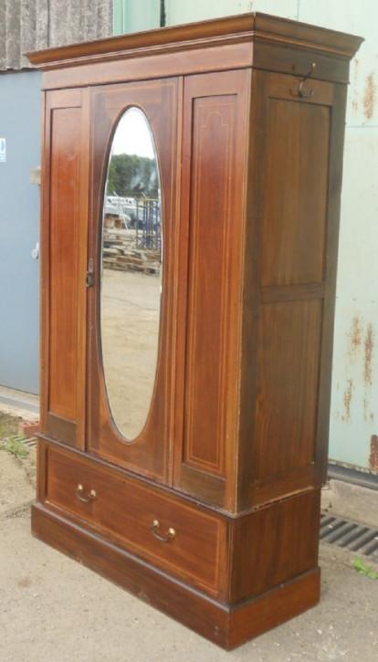 Edwardianischer Mahagoni Kleiderschrank zum Aufhängen
