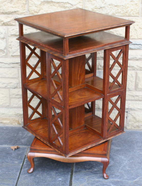 Edwardianisches Inlay Satinholz Revolving Bookcase