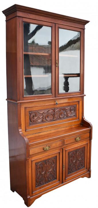 Viktorianischer Nussbaum Sekretär Bücherschrank