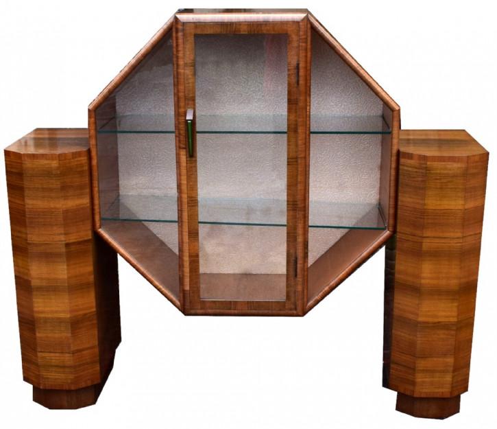1930er Art Deco Glas Vitrine