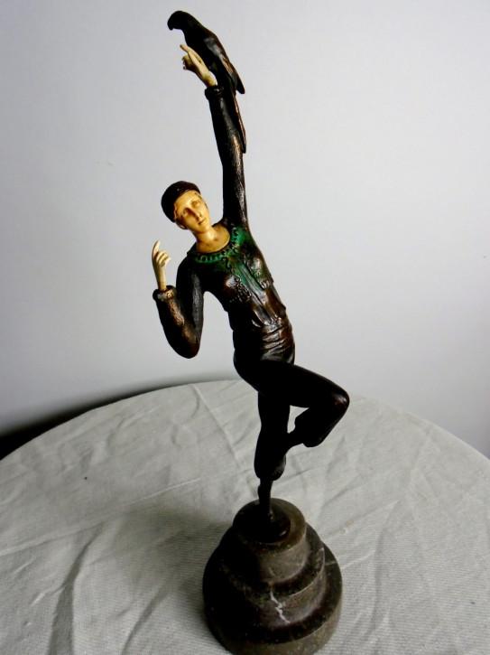 Art Deco kalt gemalte Bronzefigur (Le Danseur Perroquet)