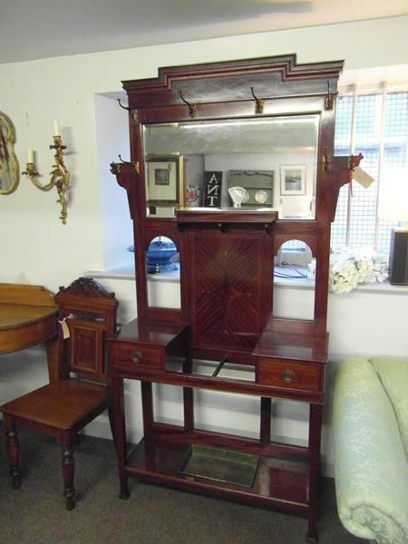 Ahorn Mahagoni Gaderobenständer   Edwardianischer Mahagoni  Garderobe   England 1890