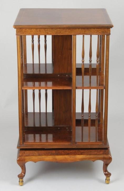 Hochwertiges Revolving Bookcase Bücherschrank Nussbaum 1920