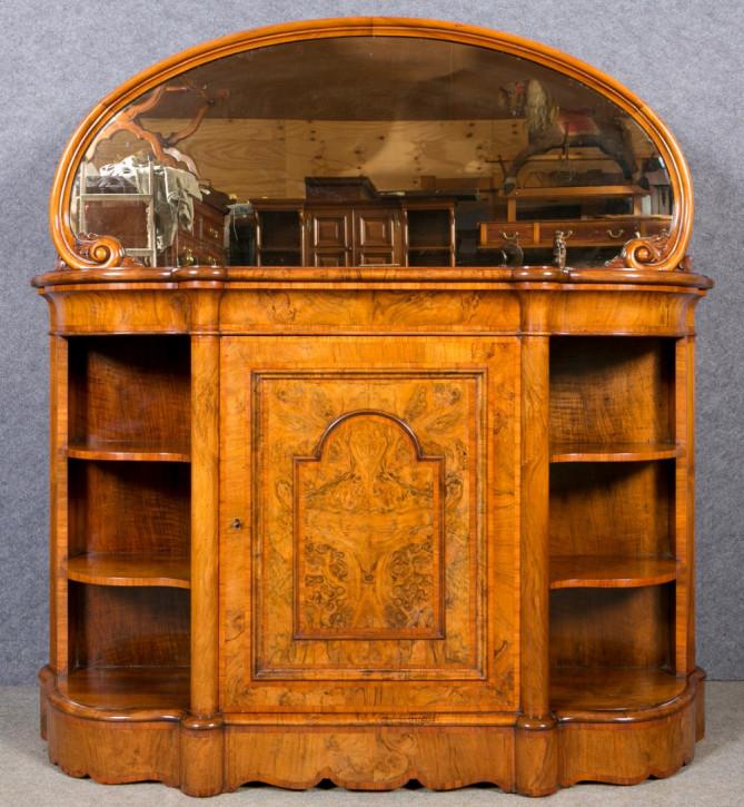Viktorianisches Sideboard mit Spiegel aus Nussbaum