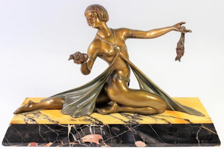 Französiche Art Deco Figur ägyptischer Tänzer von Limousin, ca. 1925