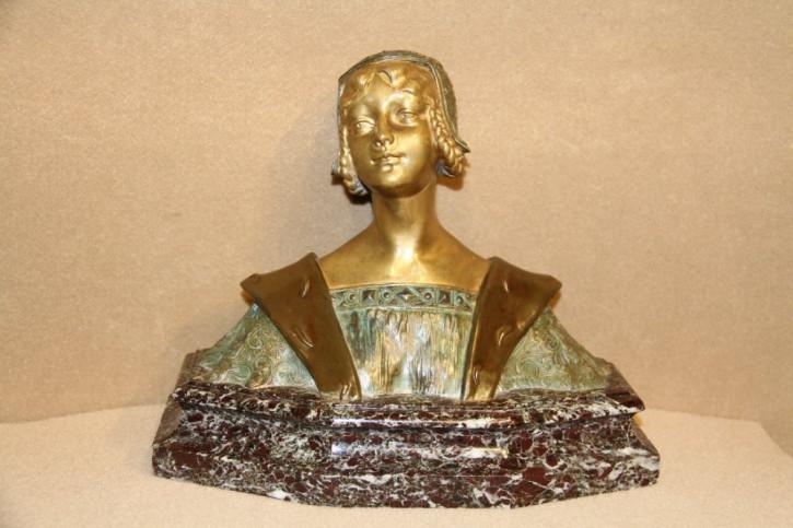 Französische Bronzebüste einer mittelalterlichen Jungfrau, ca. 1900