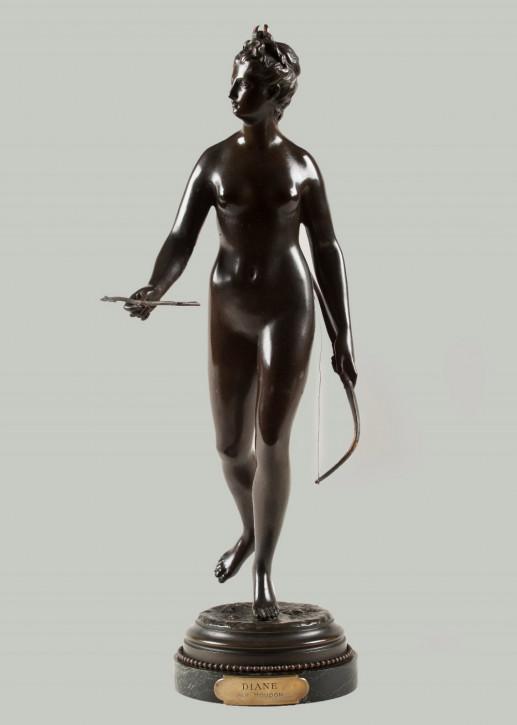 Französische Bronzeskulptur Diane von Houdon, ca. 1880