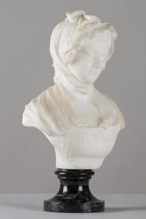 Französische Alabaster-Skulptur einer Frau, unterzeichnet Greuze, ca. 1900