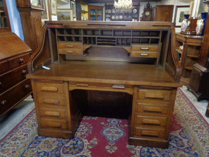 Antiken Eichenholz Schreibtisch Simpoles Manchester mit Rolldach orginal 1900