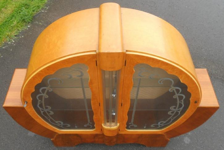 Art Deco Vitrinenschrank Massivholz Nussbaum Original 1930 SA2042b