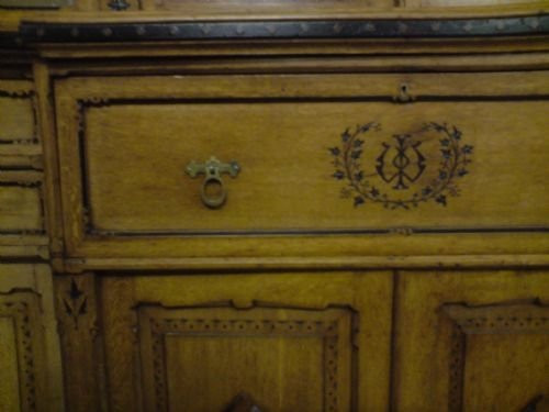 Ästhetischer Breakfront Bücherschrank, mit integriertem Sekretär, Eiche 1870