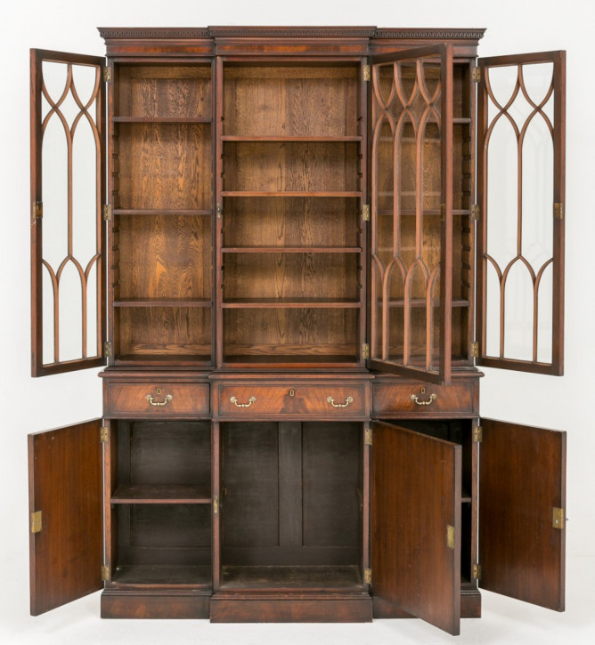 Original antikes Mahagoni Breakfront Bookcase, 1920