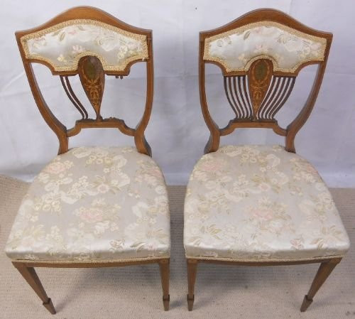 Antikes Paar Edwardian Mahagoni Salonstühle, 1900