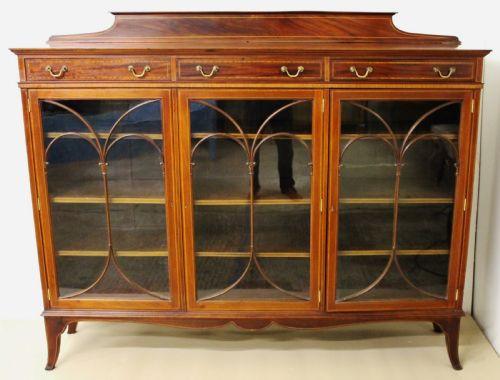 Viktorianische antike Maple and Co Mahagoni Vitrine Bücherschrank englisch 1890