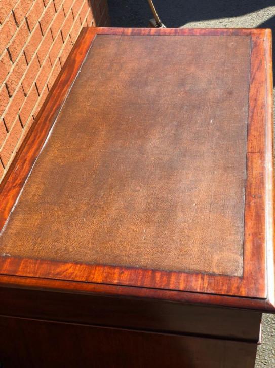 Viktorianischer antiker Pedestal Schreibtisch Mahagoni 1850