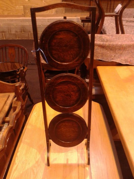 Englischer Antiker Kuchenständer Mahagoni Etagere klappbar 1910