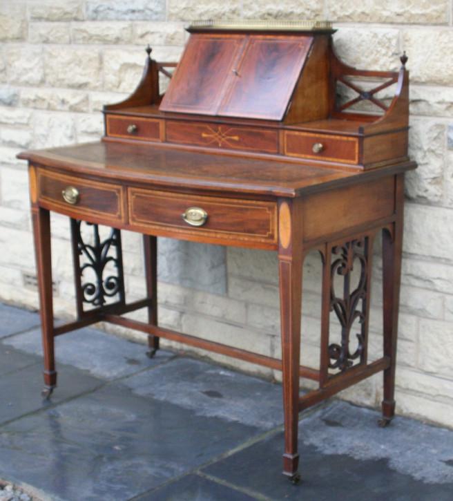 Original Antiker Englischer Edwardianischer Damen Schreibtisch ca. 1900