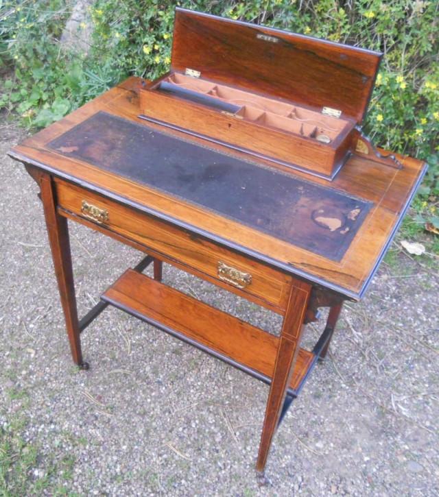 Feiner Antiker Edwardianischer Damen Palisander Schreibtisch englisch ca. 1900