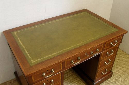 Antiker Edwardianischer Mahagoni und Satinholz Schreibtisch englisch ca. 1900