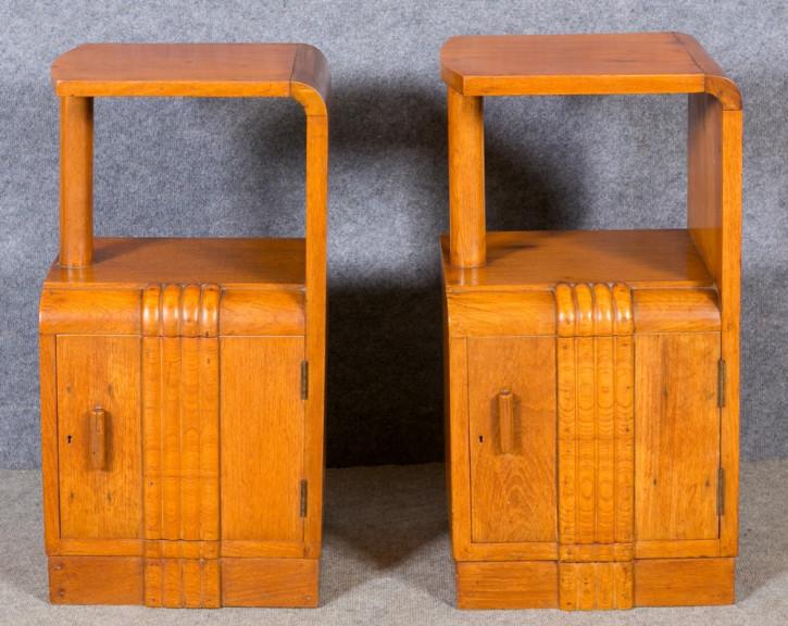 Schönes Paar original antiker Art Deco Nachttische Teak englisch 1920