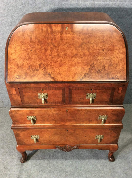 Original Antiker Englischer Queen Anne Stil Mahagoni Sekretär ca. 1920