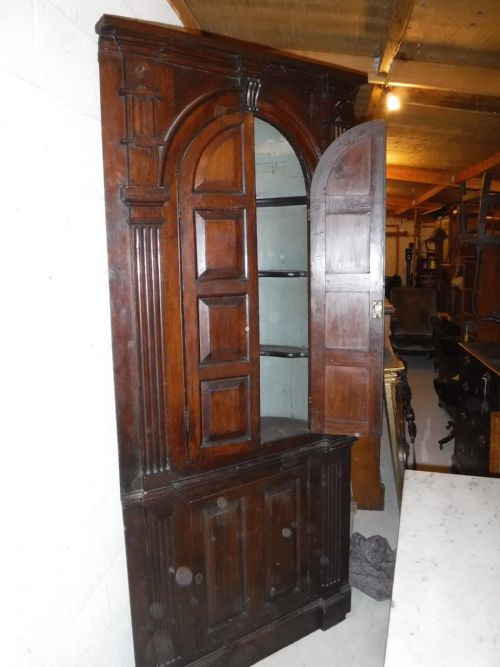 Georgianischer original antiker Landhaus Eckschrank Eiche Mahagoni ca. 18. Jh