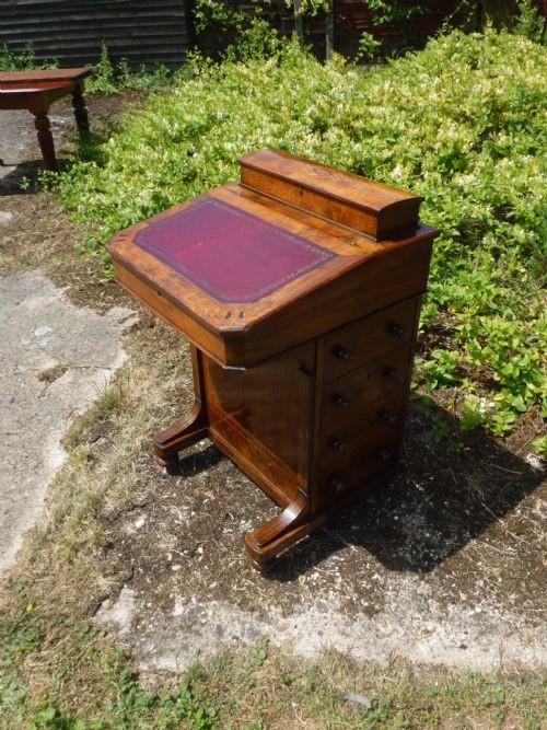 Original antiker viktorianischer Davenport Nussbaum Schreibtisch englisch 1880