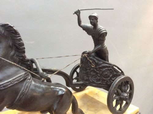 SchöneItalienische Grand Tour Bronze Wagenlenker antik ca. 19.JH