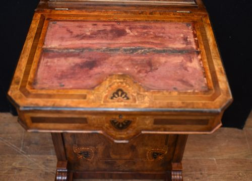Viktorianischer antiker Davenport Nussbaum Schreibtisch englisch ca 1880