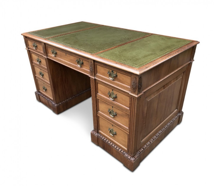Englischer Antiker Kiefern Schreibtisch ca. 1930