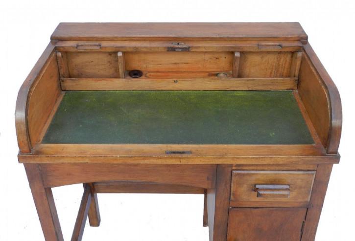 Art Deco Antiker Englischer Kinder Jalousien Schreibtisch und Stuhl ca. 1930